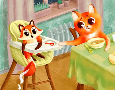 Cat`s favorite season. Book illustration.