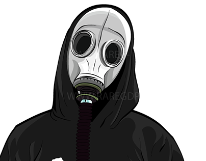 Gas Mask Illustration for client, Andrew Furca (2014)