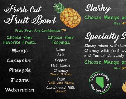 Mr Mango Menu