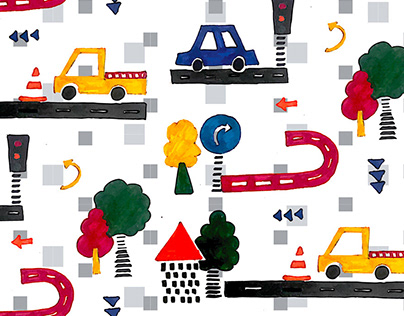 Traffic Highlights | Surface Pattern | Kids Print