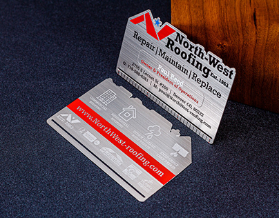 North-West Roofing metal business cards