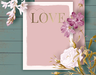 Spring Template on Wood and Flower Background