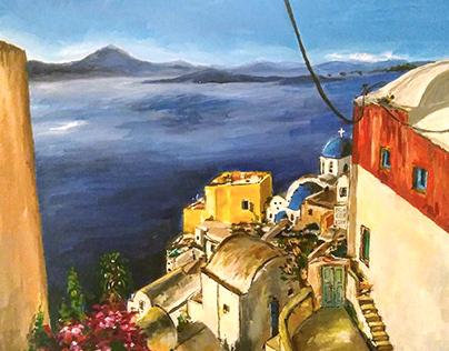 Greek Seaside Painting