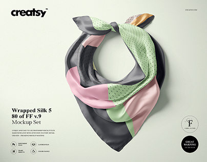 Wrapped Silk Scarf Mockup (80/FFv.9)