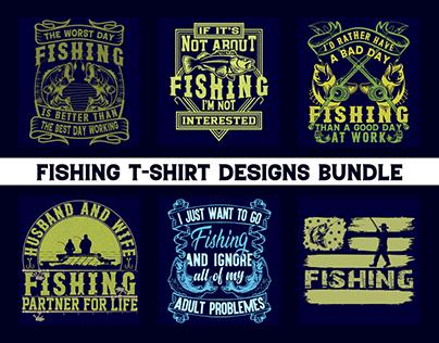 Fishing T-shirt Designs Bundle.