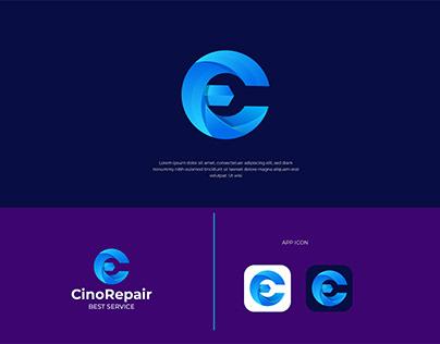 C Letter repair logo Car repair logo