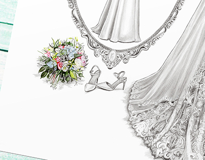 'Eimear' - Wedding Dress Illustration