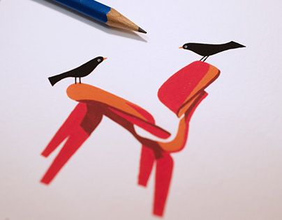 Birds and Chairs   Gouache Paintings