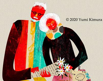 Original illustrations-Senior couple -