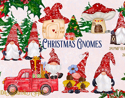 Cute Red Gnomes Christmas Clipart