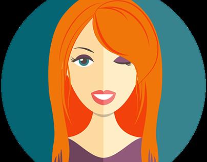 Flat Design Girl Icon Set