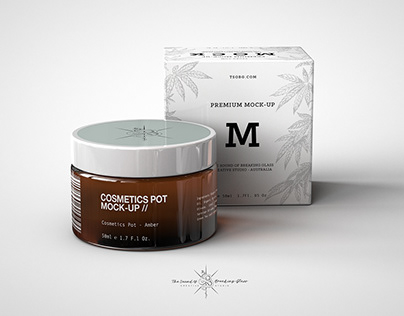 Cosmetics Pot With Box Mock-Up