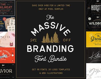 THE MASSIVE BRANDING FONT BUNDLE - 94% OFF