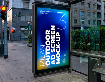 Milan Bus Stop Advertising Screen Mock-Ups 8 (v4)