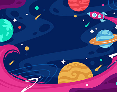 Flat Colorful Space with Rocket Background