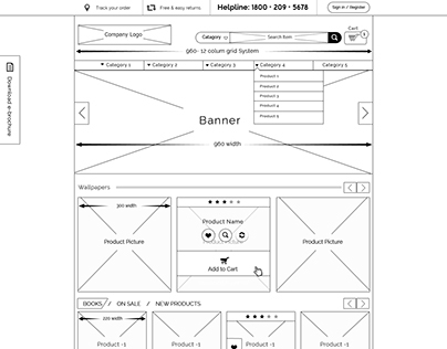 Asian Paint Ecommerce wireframe