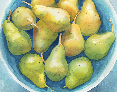 watercolor pears painting