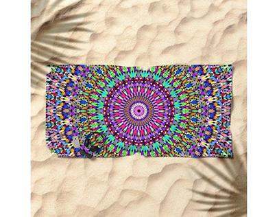 Colorful Love Mandala Beach Towel