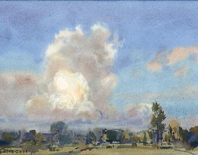 Cumulus clouds in watercolor