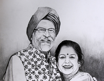 AGELESS BLISS - Pencil-Charcoal sketch by Kamal Nishad