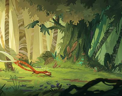 Vibrant Forest Illustration