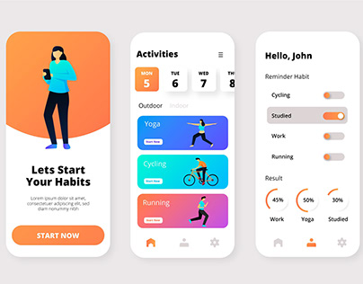 Goals and habits tracking app UI