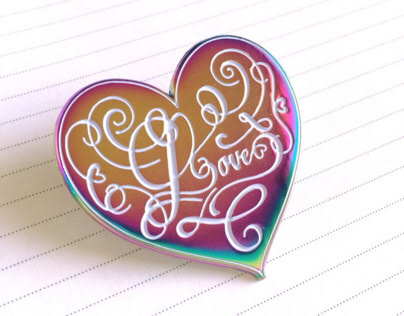 Calligraphy Love Enamel Pin