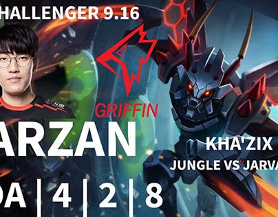 ✅GRF Tarzan Kha'zix JG vs Jarvan IV KR Challenger 9.16