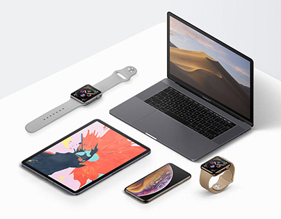 Apple 7 Devices Isometric Mockups - PSD