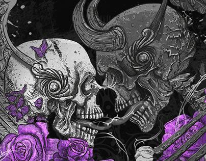 T-Shirt Design. Tattoo illustration by Julia Art