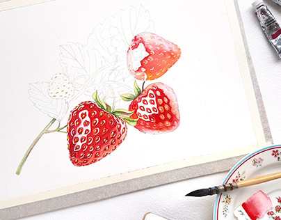 Watercolor Fruits and Berries for Roland
