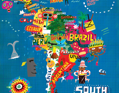 South American Map - Sounds and Colours