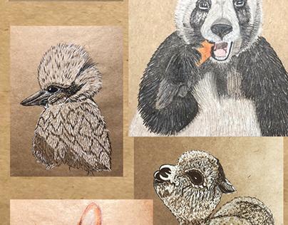 Animals on craft paper