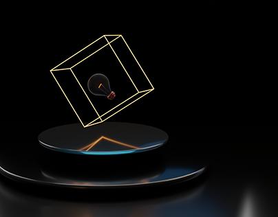 Lights in dark room - Blender 3d Render
