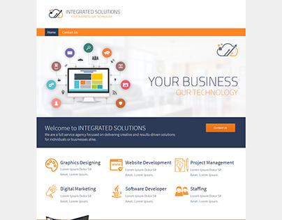 Homepage Design for an IT company on WebsiteBuilder