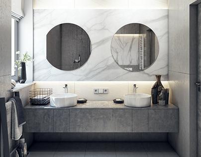 Interior design of bathroom (first option)