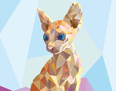 Sphynx Cat Polygonal Art