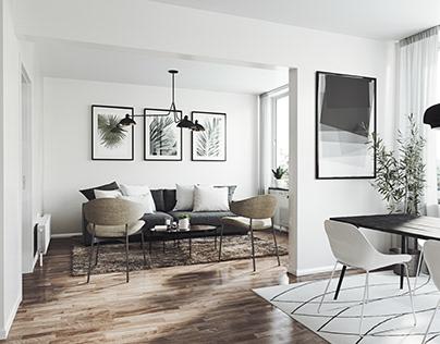 Minimalist interior of a one-room apartment