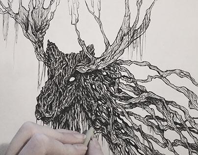 Goblin's elk ink dot illustration