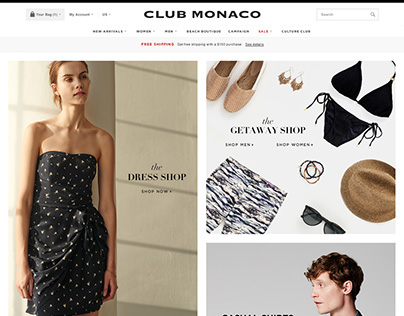 Club Monaco Homepage Design