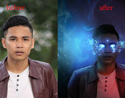 Glowing Eyes Smoke Photo Effect