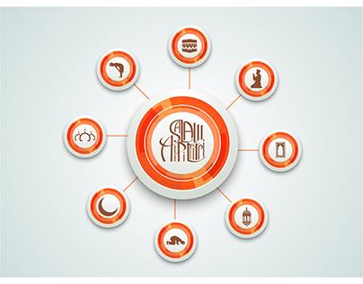 free vector ramadan islamic chart orange button