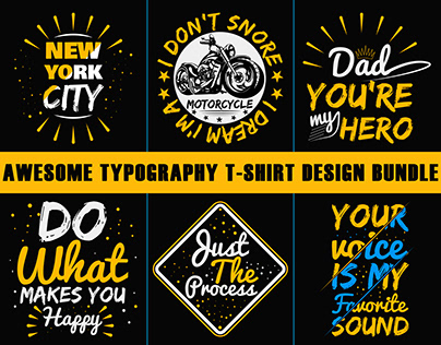 Awesome Typography T Shirt Design Bundle