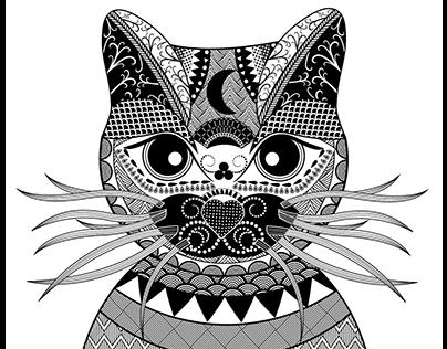 """Zentangle Art """"Cat"""""""