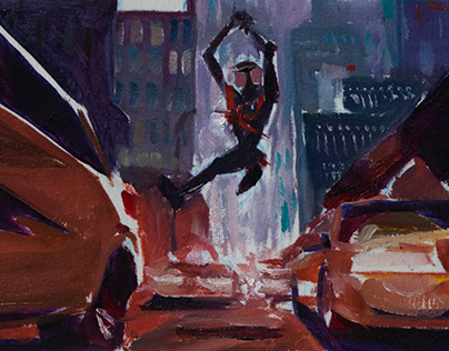 Spiderman Into the spiderverse - oil study