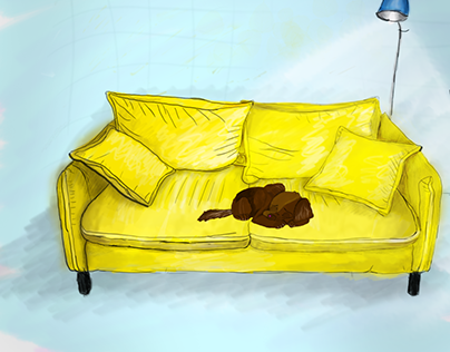 illustrated living room