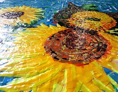 "Duct Tape Art by Ostap- ""Sunflowers"" (feat Van Gogh)"