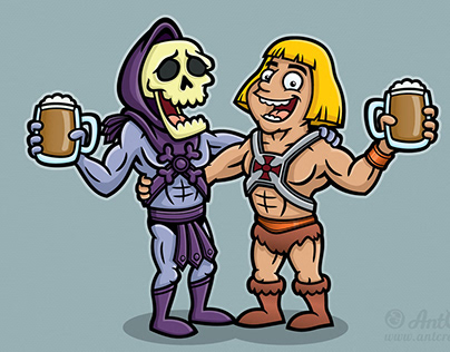 He-Man and Skeletor Cartoon Characters Illustration