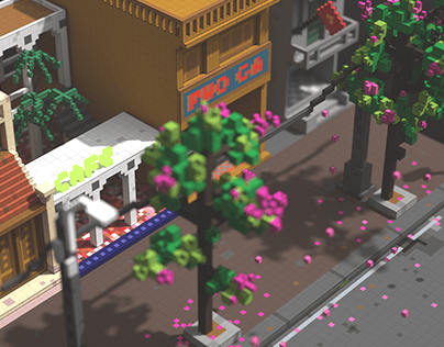 Bằng lăng Hà Nội Pixel Art