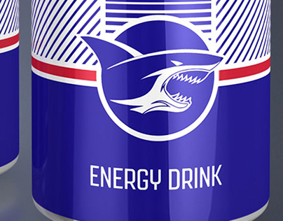 Dark Blue Energy Drink Packaging Design